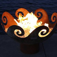 Waves O Fire Sculptural FireBowl by John T Unger: Metal Fire Pit | Artful Home