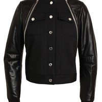 GIVENCHY | Leather and Denim Bomber Jacket | Browns fashion & designer clothes & clothing