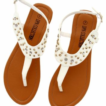 DXS-D19 White Women Summer Sandals Flip Flops