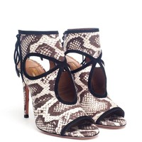 AQUAZZURA | Sexy Thing Python Peep Toe Pumps | Browns fashion & designer clothes & clothing