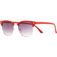 Bright red matte round retro sunglasses - retro sunglasses - sunglasses - women