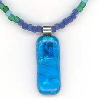 Blue Green Large Rectangular Pendant with Necklace by Lehane