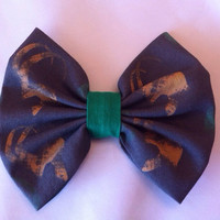 Avengers Inspired Loki Helmet Medium Sized Fabric Hair Bow, Thor, Marvel Comics, Superhero, Geek, Tom Hiddleston