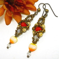 Czech Hyacinth Crystal Carnival Heart Beadwoven Niobium Earrings