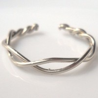 Infinity Braided Silver Wire Ring Adjustable Size