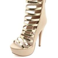 METALLIC SUPER STRAPPY PLATFORM HEELS