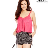Calico High-Waisted Side-Tie Shorts