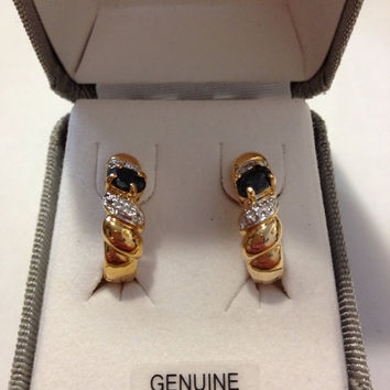 Sapphire Diamond Earrings NIB 18K Sterling Silver 925 Blue Genuine Stones Gold Hoops Sparkley Vintage New Boxed Jewelry Bridal Prom Gift