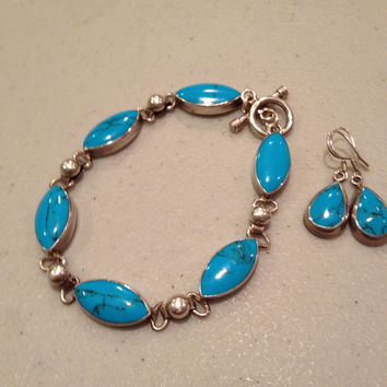"Turquoise Sterling Bracelet Earrings Set 7"" Silver Blue Diamond Stamped 925 Mexico 27 Grams Vintage Jewelry Southwestern Stone Gift Mexican"