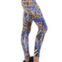 Carrie's Closet - Blue Leopard and Gold Chains Footless Tights -- SHEER