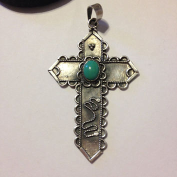 Turquoise Sterling Cross Pendant Silver Blue Stone 925 Crucifix Religious Spiritual Vintage Southwestern Jewelry Gift Genuine Enhancer Slide