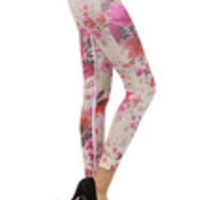 Carrie's Closet - ivory and pink floral footless tights -- SHEER