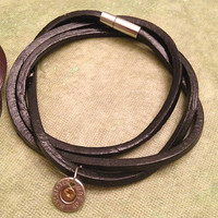 Black Leather Wrap with Silver Bullet