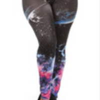 Carrie's Closet - black galaxy plus size leggings