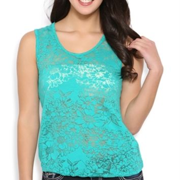 Floral Burnout Tank with Bubble Hem