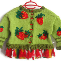 Children cardigan, Wool Kid Cardigan STRAWBERRY FIELDS Children Wool Sweater for 3 years, knitting children, green sweater by Solandia