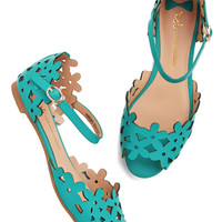 Prancing Through the Petals Flat in Teal | Mod Retro Vintage Sandals | ModCloth.com