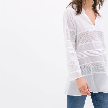 COMBINATION COTTON VOILE BLOUSE