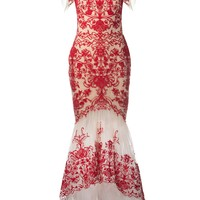 MARCHESA NOTTE illusion neck embroidered gown