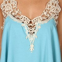 Lt. Blue Crochet Patch Chiffon Top