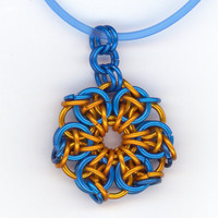 Blue and Copper Pendant with Cable Necklace Chainmaille by Lehane