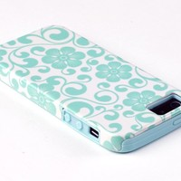DandyCase 2in1 Hybrid High Impact Hard Sea Green Floral Pattern + Silicone Case Cover For Apple iPhone 5S & iPhone 5 + DandyCase Screen Cleaner