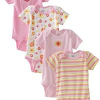 Gerber Baby-Girls Infant 4 Pack Variety Flower Stripes Onesuit