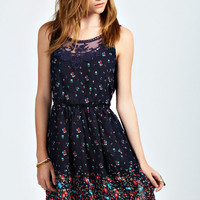 Freya Crochet Detail Floral Skater Dress