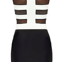 Fenced In Dress | Black White Bodycon Bandage Mini Dresses | Rickety Rack