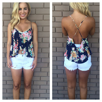 Geisha Floral Crop Top - NAVY