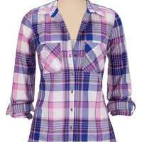 lightweight plaid print button down shirt