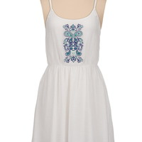 high-low embroidered tank dress