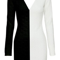 Dual Highway Dress | Long-Sleeve Black White Bodycon Dresses | Rickety Rack