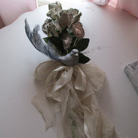 Romantic French gray roses milagro hearts shabby chic silk ribbon and antique netting anita spero