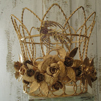 Metal crown sculpture for statues or home decor made from all recycled items French inspired reclaimed piece anita spero