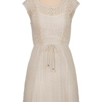 tie waist lace and crochet cap sleeve dress