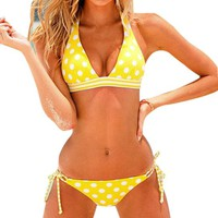 Polka Dots Bikini Stripe Halter Top Tie Side Bottom Pant Bathing Suit Red Yellow