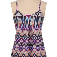 multi print chiffon button back tank