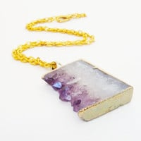 Druzy Jewelry, Amethyst Druzy Drussy Gold Dipped Purple Pendant Chainmaille Necklace Gift Under 50