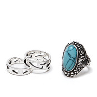 With Love From CA Multi Stone Ring Pack - Womens Jewelry - Silver -