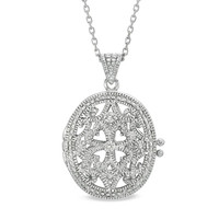 Diamond Accent Vintage-Style Oval Locket in Sterling Silver - View All Necklaces - Zales
