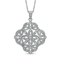 Diamond Accent Vintage-Style Medallion Pendant in Sterling Silver - Clearance - Zales
