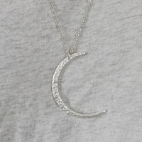 LUNA silver plated moon matte crescent necklace