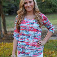 Beat of the Music Top: Navy/Coral - Off the Racks Boutique