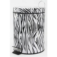 Zebra Print Flip Lid Trash Can Waste Basket Foot Pedal to Open