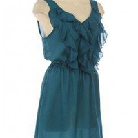 RUFFLE DETAILED SLEEVELESS WOVEN DRESS-Casual Dresses-casual dresses for juniors,casual dresses,comfort dress,casual elegant dress,designer dresses