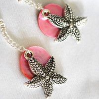 Nautical Earrings featuring Starfish and Pink Mussel by Meghanlee5