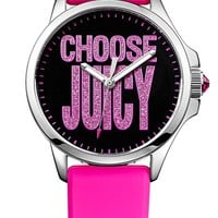 Juicy Couture 'Jetsetter' Reverse Pattern Silicone Strap Watch, 38mm