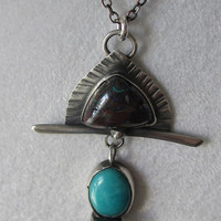 NECKLACE Sterling Silver with Boulder Opal and Turquoise Metal Smith- FREE SHIPPING