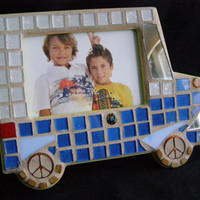 Blue White Mosaic Car Frame, 3 1/2 x 5, Kids Frame, Baby Shower, Child's Photo, Baby, Blue